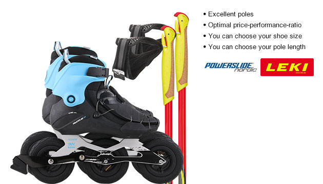 Nordic Cross Skates Powerslide Vi SUV 2.0 Powerslide Vi SUV 2.0 2016 Set with LEKI Genius Carbon Poles